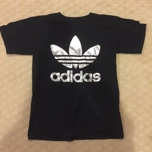 Black Adidas T-Shirt with Silver Logo